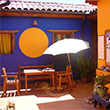 Colorful hostel in colonial style